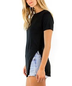 Pima Apparel Black Side-Slit Tee - Women | Zulily