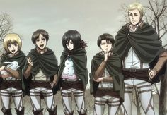 Anime Attack On Titan  Armin Arlert Eren Yeager Levi Ackerman Mikasa Ackerman Erwin Smith Wallpaper