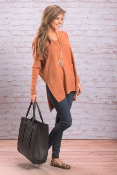 """Love Me The Same Tunic, Rust"" You'll love this tunic! It looks so good with dark jeans or you can go even more comfy and rock some leggings instead! There's nothing more comfortable than a good pair of leggings and a soft tunic!  #newarrivals #shopthemint"