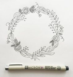 "I'm back with my third post in the ""How to Draw"" series. (You can view the first two here and here.) I love drawing wreaths but I find myself feeling really overwhelmed when I sit down to draw one. Where do I start? What do I draw? Too sparse? Too full? Ok, well I'm breaking it down step by step today so if you're like me, you won't be overwhelmed any longer. But before we go any further, download your worksheet here. Your worksheet shows you the collection of botanical"