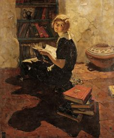 "DEAN CORNWELL Portrait of a Young Woman Reading Oil on canvas 36"" x 30"" """