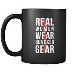 [product_style]-Firefighter Real women wear buncker gear 11oz Black Mug-Teelime