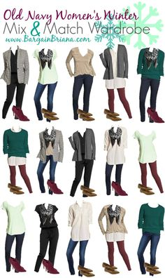 Old Navy Womens Mix and Match Board :: Are you looking for a inexpensive way to update your wardrobe for winter? We have put together 15 different outfits you can wear with these twelve item combinations!