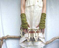 Sweetpea Warmers hand knitted pure merino wool green by InnerWild, £40.00