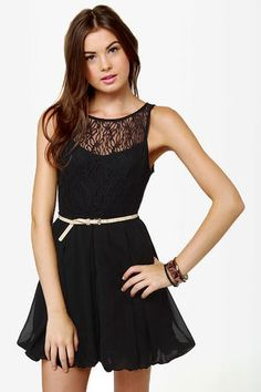 Little Black Dress - Lace Dress - Skater Dress - Bubble Dress - $41.00