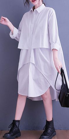 Simple White Quilting Clothes Lapel Low High Design Loose Spring Dress New Long Dress, Modest Dresses For Women, Quilted Clothes, Pink Evening Dress, Long Sleeve Cotton Dress, White Linen Dresses, Fall Skirts, Ideas, Style