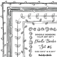 Doodle Frame Clip Art Frame Clipart Digital by PaulaKimStudio Cute Borders, Doodle Borders, Borders And Frames, Doodle Patterns, Drawing Frames, Create Invitations, Frame Clipart, Doodle Art, Doodle Frames