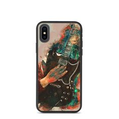 Angus Young's biodegradable, iphone case, iphone xr case, iphone 7 case, iphone 8 case, iphone x case, iphone xs case, iphone 11 case Guitar Gifts, Music Gifts, Guitar Painting, Guitar Art, Iphone 8 Cases, Iphone 11, Music Wall Art, Angus Young, Cool Artwork