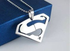 Stainless Steel Marvel Comic Superman Pendant+Chain Necklace