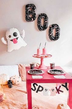 Check out this ghoulish pink Halloween Slumber party! The backdrop is so cool! See more party ideas and share yours at CatchMyParty.com #catchmyparty #partyideas #halloween #halloweenparty #ghouls #halloweenslumberparty