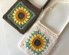 Crochet Crochet Purse with crossbdy strap adjustable - Handmade Purse - Sunflower Purse - Cro., # crochet handbags and purses Crochet Crochet Purse with crossbdy strap adjustable - Handmade Purse - Sunflower Purse - Cro. Crochet Handbags, Crochet Purses, Crochet Bags, Crochet Shell Stitch, Knit Crochet, Cotton Crochet, Crochet Granny, Free Crochet, Cotton Fabric