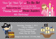 Pirate and Princess Birthday Invitation  by TheTrendyButterfly, $13.00
