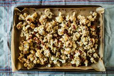 Crispy roasted cauliflower tossed with a generous amount of tahini and miso.