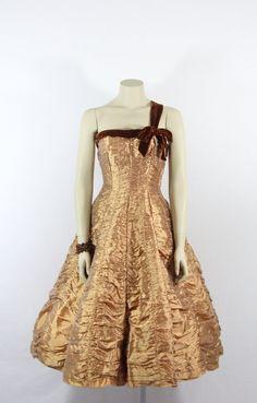 1950's Vintage Dress  Champagne Gold by VintageFrocksOfFancy, $420.00