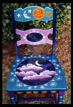 Vintage chair painted with a celestial theme. I am currently working on a vintage vanity with the same theme. I'll post it upon completion. This design and many others are available from my we...