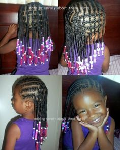 CORN ROLLS / BOX BRAIDS / PROTECTIVE HAIRSTYLES FOR LITTLE GIRLS / NATURAL HAIRSTYLES FOR KIDS / BEADS / PLATS by joann