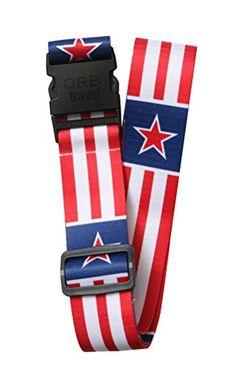 ORB Travel Premium Designer Luggage Strap 2x72LS301WStars  StripesWhiteRedBlue >>> Click image to review more details.