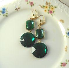 Emerald Green Statement Chandelier Earrings By Myfaunaflora Statement Earrings, Drop Earrings, Chandelier Earrings, Emerald Green, Beads, Crystals, Gold, Handmade, Stuff To Buy