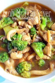 Izah Muffin Lover: Brokoli Tumis Ayam - Menu Kanak-kanak #sayur Food N, Food And Drink, Asian Recipes, Healthy Recipes, Healthy Foods, Indonesian Food, Indonesian Recipes, Catering Menu, Malaysian Food