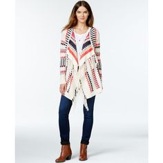 kensie Fringed Aztec-Print Cardigan ($99) ❤ liked on Polyvore featuring tops, cardigans, heather latte combo, aztec cardigan, white cotton tops, white fringe cardigan, fringe top and aztec top
