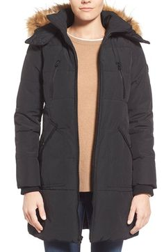 GUESS 'Expedition' Quilted Parka with Faux Fur Trim available at #Nordstrom