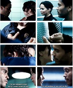 Hunger Games and Catching Fire. Katniss and Cinna chemistry before the Games