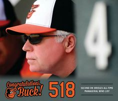 Congrats, Buck!  With tonight's victory, Buck Showalter surpassed Paul Richards for sole possession of 2nd place on the Orioles all-time managerial wins list with 518 victories. Showalter, now in his seventh season as skipper of the Orioles, trails only Baseball Hall of Famer and Orioles Legend Earl Weaver, who won 1,480 games as manager of the Orioles from 1969-1982 and 1985-1986, as well as four American League pennants and the 1970 World Series.