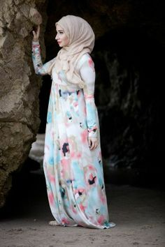 Watercolor Empire Dress-Louella.    Ibtihaj Muhammad (the olympic fencer m'A) label