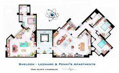 Tévésorozatok lakásainak alaprajza - Agymenők: Penny, Leonard és Scheldon lakása