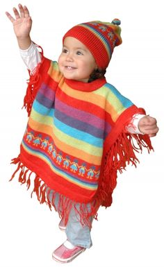 Poncho et bonnet multicolore pour enfants - Caserita.com Bolivie