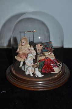 Wonderful Doll Diorama W/ Antique Miniature All Bisque Doll and Artist Dolls and Wood Pegged Miniature Doll Glass Dome