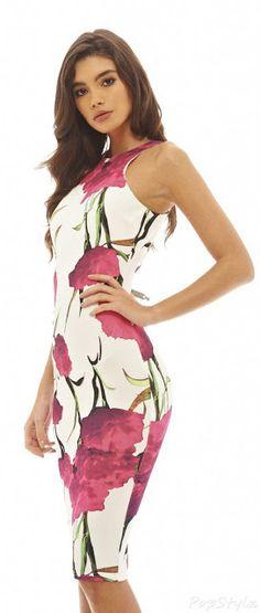 2697142148 AX Paris Women s bold rose Printed Bodycon Midi Dress(Cre... https
