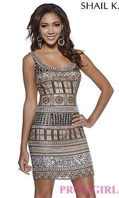 Short Sequin Scoop Neck Dress by Shail K at PromGirl.com