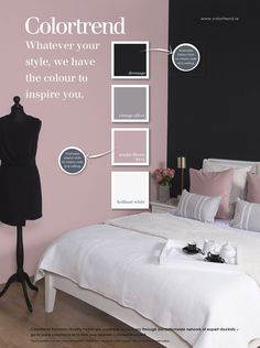 "You could have a feature wall at the back of kids bed an ""almost black, The wall beside Rosie bed dusty pink Theo's side dusty blue or grey . Pink Black Bedrooms, Dusty Pink Bedroom, Pink Master Bedroom, Black And Grey Bedroom, Pink Bedroom Walls, Pink Bedroom Decor, Master Bedroom Interior, Bedroom Wall Colors, Bedroom Color Schemes"