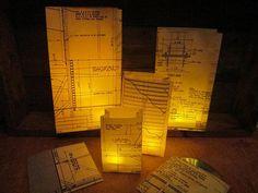 20 Blueprint Luminary Bags, Architect Collection, Custom Made With Original Blueprints, Architect, Black & White, Home Decor, Paper Lanterns...