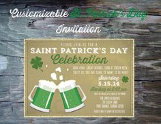 St Patricks Day Party Invitation Printable by FeatheredHeartPrints, $15.00 Green Beer Pub Crawl or Simple Celebration- Luck of the Irish