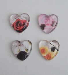 4 Handmade Floral Heart Domed glass Picture by DBHjewellery, $5.95