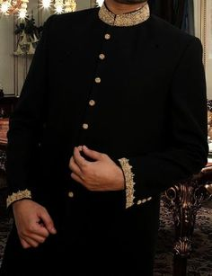 Buy Kurta Corner Black Sherwani K-117-4 Men Sherwani From ARY Sahulat Bazar Pakistan & Get Upto 100% Value Back