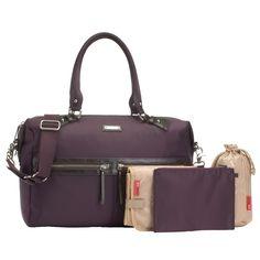 Storksak Caroline Nylon Fabric Diaper Bag - Mulberry | Designer Diaper Bags  www.duematernity.com