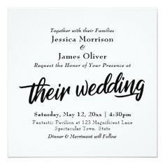 """Bold Script Typography Minimal """"Their Wedding"""" Card - elegant gifts gift ideas custom presents"""