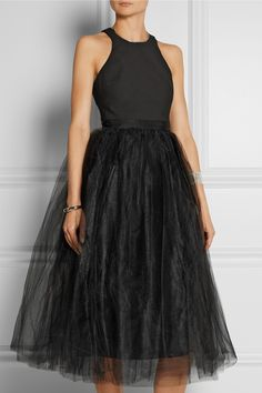 ELIZABETH AND JAMES Aneko stretch-ponte and tulle midi dress £475.00 https://www.net-a-porter.com/products/647313