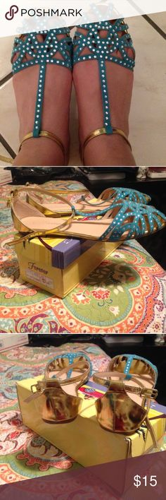 Aqua and gold colored flats (No copyright infringement intended with the above listed photos.) Shoes