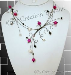 fuchsia black ivory necklace, bridesmaids gifts,mothers day gifts,wedding favors,unique jewelry design, illusion necklace,swirls designs by creationtwinne on Etsy, $62.00