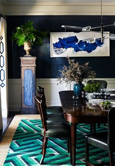 love....  blue walls, green chairs & rug.  mix of contemporary & traditional.  Jeffrey Alan Marks Interior Design