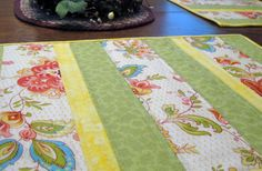 Quilted placemats set of 4  floral print by WarmandCozyQuilts, $45.00 #pcfteam