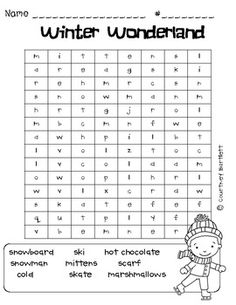 Swimming Into Second: Winter Word Searches (freebie) Winter Word Search, Free Word Search, 4th Grade Math Worksheets, Winter Words, Winter Parties, Word Work, Word Study, Crossword Puzzles, Thing 1