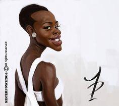 Caricatura de Lupita Nyong'o