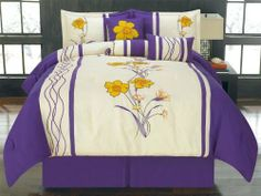 "11 Piece Queen Azalea Purple Floral Embroidered Bed in a Bag Set by KingLinen. $89.99. This lovely bedding set features floral applique and embroidery with stripe accents for a modern appeal. 3 unique decorative pillows further enhance the look .FeaturesColor: Purple/Yellow/Off WhiteSize: QueenMachine Washable Matching curtains availableThis set includes:1  Comforter (90""x92"")2  Shams (20""x26""+3"")1  Bed Ruffle (60""x80""+15"")1  Neckroll (7""x17"")1  Breakfast ..."