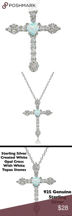 Sterling Silver White Topaz Cross This Pendant is Stamped 925 Genuine Sterling Silver.  Created White Opal Cross with White Topaz Stones. Brand New. Jewelry Necklaces