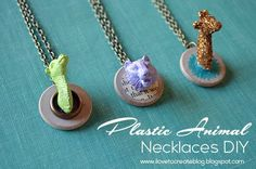 Plastic Animal Necklaces DIY from @penny shima glanz shima glanz Harrington Create - Bring broken plastic animals back to life with this creative and easy to make jewelry craft.
